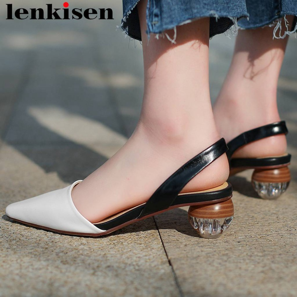 Lenkisen simple style summer brand young girls square toe art design med heels genuine leather slip on dating party sandals L7f4