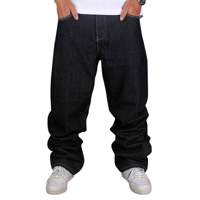 ФОТО Men's Black Baggy Jeans Hip Hop Designer Brand Skateboard Pants loose Style Plus Size 30-44 True HipHop Rap Jeans Boy