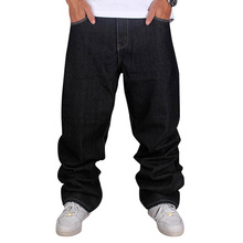 Men's Black Baggy Jeans Hip Hop Designer Brand Skateboard Pants loose Style Plus Size 30-44 True HipHop Rap Jeans Boy