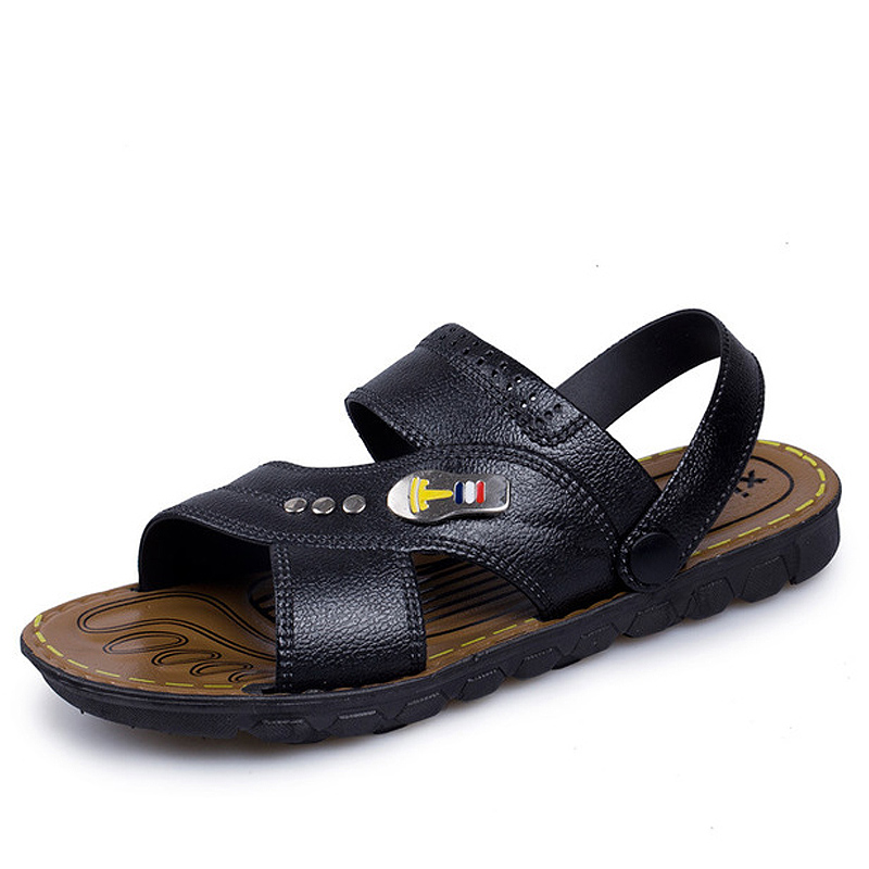 f69dfc5853aff 2018 Summer Men s Breathable Flat Shoes PU Leather Men Anti Slip Hiking Sandals  Fashion Dual-use Big Size Beach Slippers AMS0019. 8 2 ...
