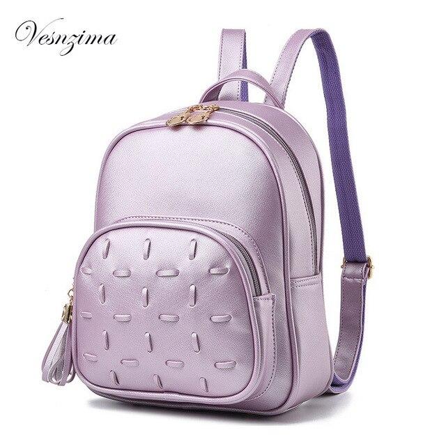 8d5e0a0d04 VZ preto senhoras bolsa mochila roxa cinza pequeno couro pu sacos para as  mulheres 2017 mochila