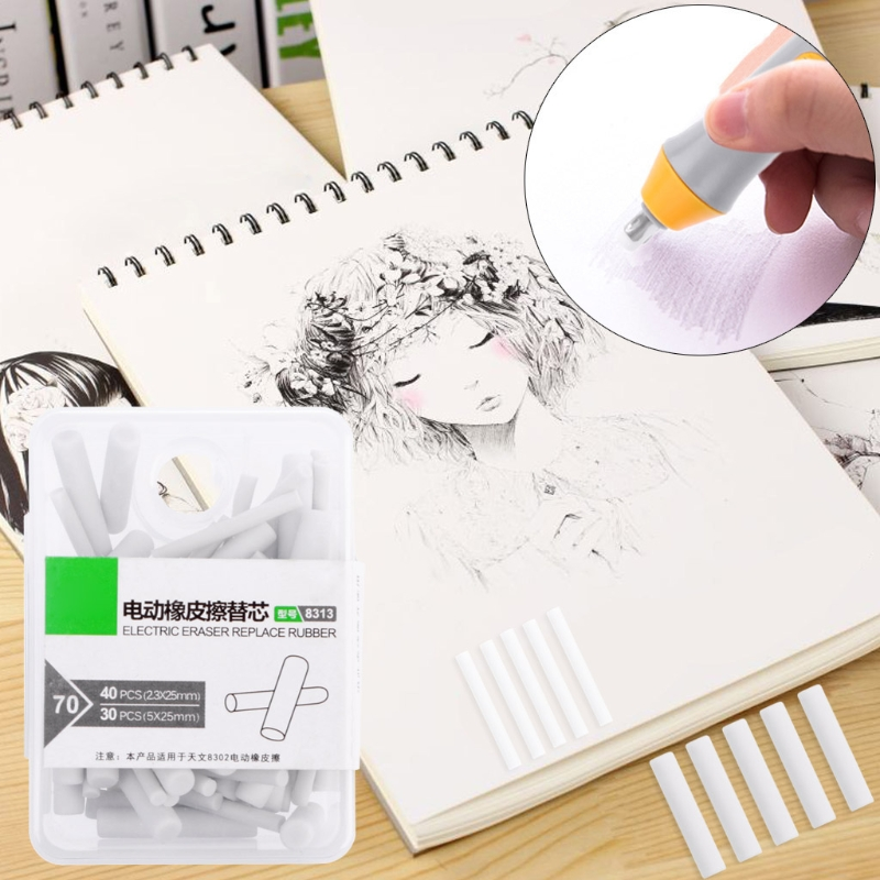 70 Pcs Electric Eraser Replacement Sketch Erasing Rubber School Stationeries Use