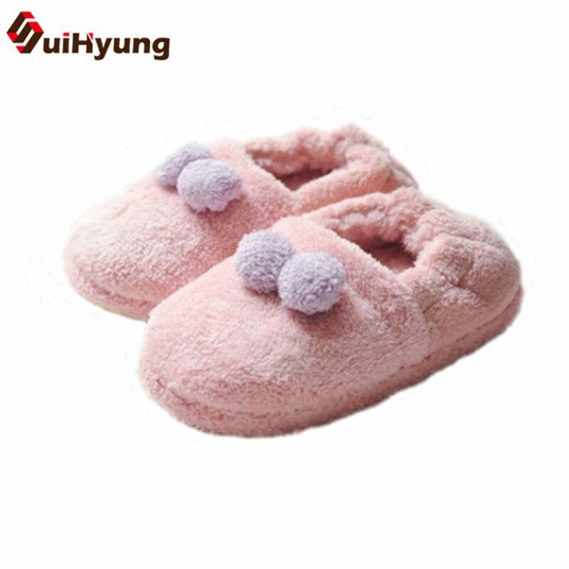 Suihyung зима теплая Для женщин indoor Обувь плюшевые домашние тапочки пушистый кролик Форма гриль Спальня Домашние Тапочки Дом хлопок Обувь