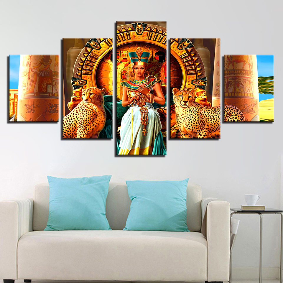 Abstract Cuadros Canvas Art Poster Style Wall 5 Panel Egypt Queen Cleopatra Pictures For Living Room Modern Decoration Paintings