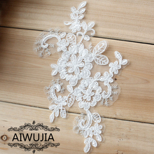 1Piece Off White Lace Applique Floral Craft Flower Fabric Appliques Trimmings For Sewing Bridal Dress 18x11cm