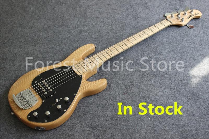 La naturaleza de acabado de madera Suneye música hombre bajo eléctrico guitarra China OEM 5 String Bass guitarra en Stock