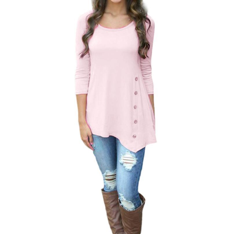 snowshine YLI Women Long Sleeve Loose Button Trim solid color Round Neck Tunic T-Shirt