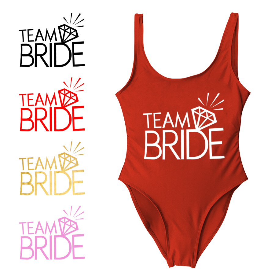 c0c821529a8 BRIDE Letter Print Sexy Bodysuit One Piece Swimsuit Swimwear Women High Cut  Beachwear Monokini Bathing Suit Wedding Bikini