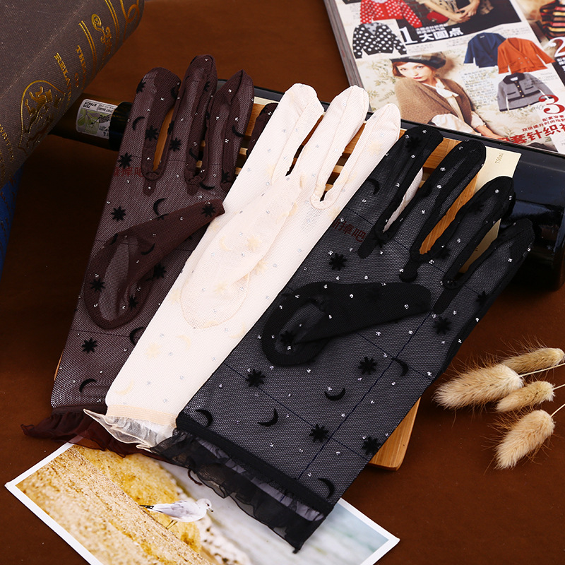 Women's Vintage Sunscreen Flower Gloves Anti-uv Rabbit Lace Gloves Knitted Flip Stars Moon Gloves Flip Top Gloves