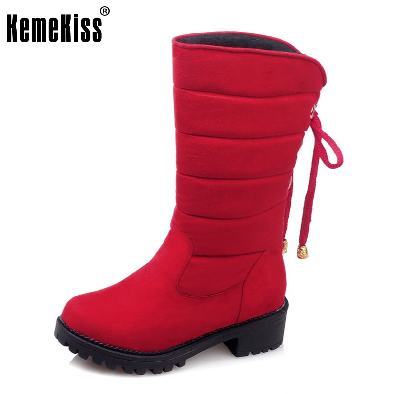 KemeKiss New Arrive Keep Warm Snow Boots Fashion Thick Fur Platform Mid Calf Winter Boots For Women Shoes Footwear Size 30-52