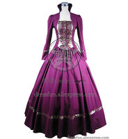Gothic Victorian Brocade Wedding Dress Ball Gown With Stand Collar And Ties Decorated Elegant For Dancing And Halloween Party