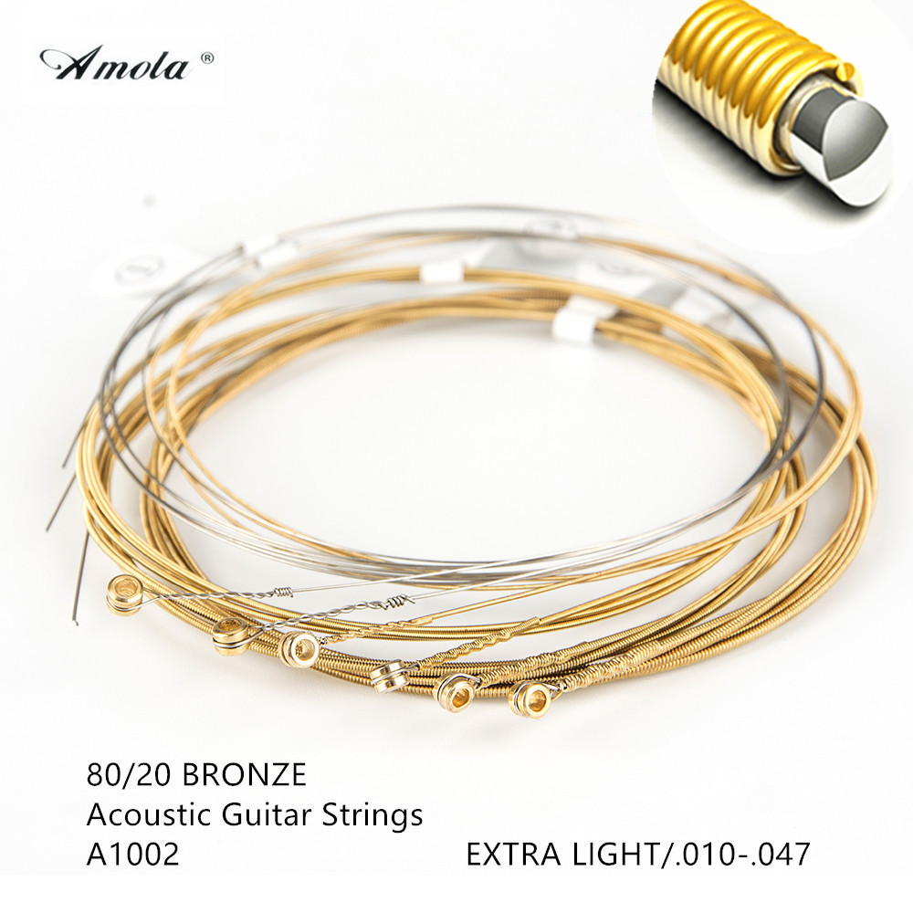 Amola Acoustic Guitar Strings A1002 Guitar Strings 010-047 Musical Instrument Wound Guitar Strings 80/20 Bronze 1 Sets