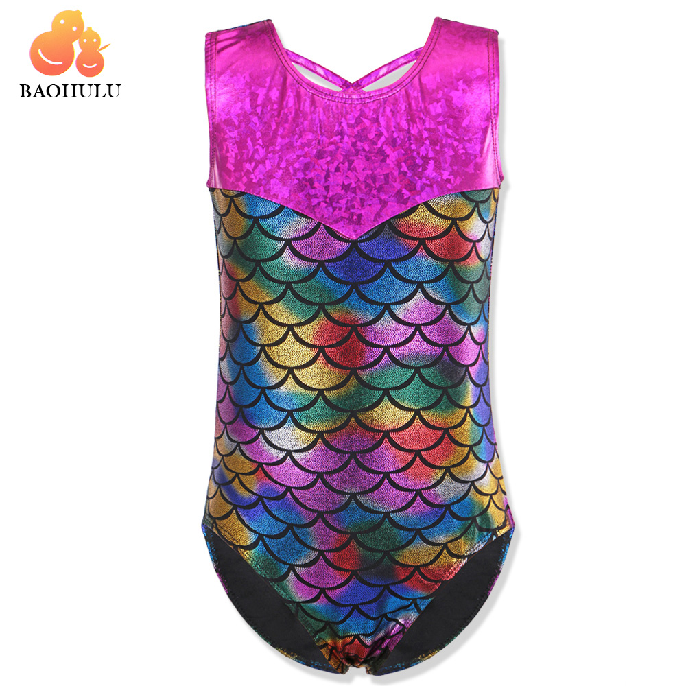 BAOHULU 2018 Toddler Little Girls Mermaid Gymnastics Leotard Bikini Yoga  Cosplay Dance Costume GYM Sport School Tank 3-12Y Kids
