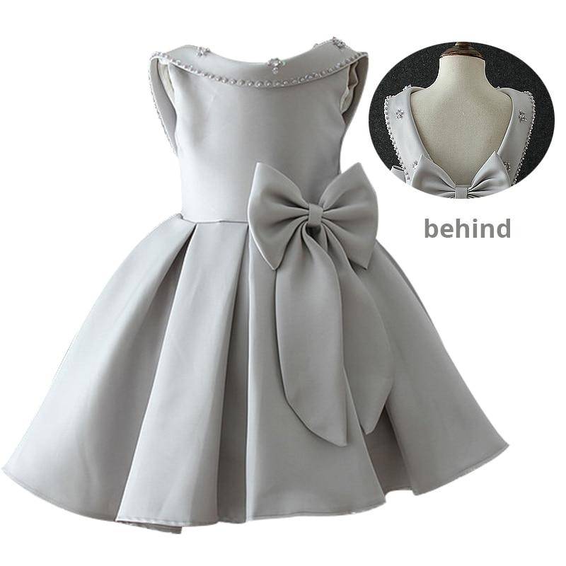 Атласное платье для первого причастия для маленьких детей; блестящее бальное платье; Пышное Платье; Платья с цветочным узором для девочек на свадьбу; платье для банкета сзади - Цвет: gray