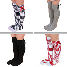 Princess Socks 1 to 8 Years Lovely Girls Kids Toddler Bow Knee High Socks Colours Silk Bow Baby Girl Socks Striped