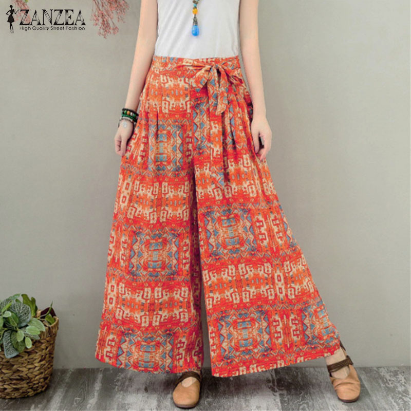 ZANZEA Women Bohemian Floral Printed Wide Leg Pants Autumn Elastic Waist Trousers Bow Tie Flare Pantalon 5XL Loose Casual Pants