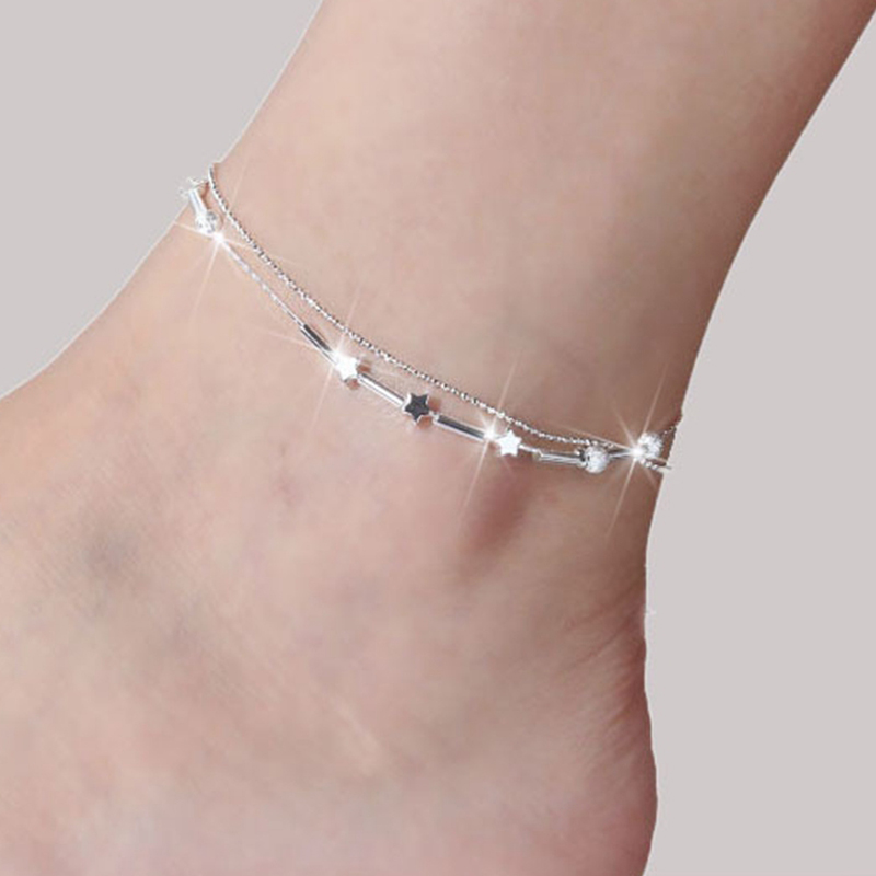 SHUANGR Boho Gold Silver Color Anklet Bracelet on The Leg Multi-Layer Heart Leaf Beads Ankle for Women Chain Beach Foot Jewelry