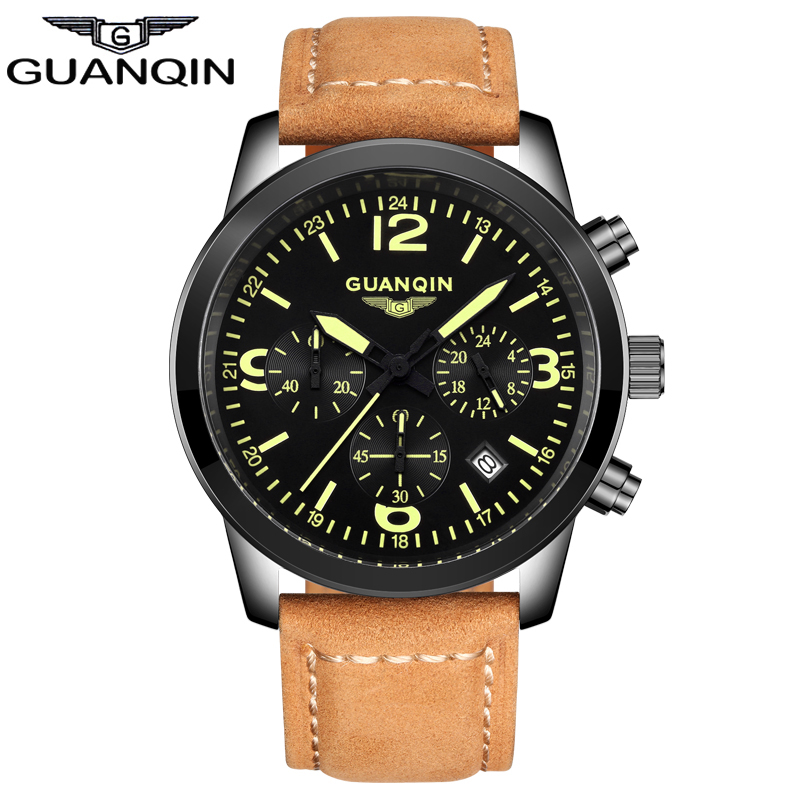 ФОТО GUANQIN GS19037 Relogio Masculino Luxury Brand Watches Men Military Luminous Clock Male Sport Wristwatch Leather Strap