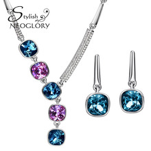 Neoglory Stylish MADE WITH SWAROVSKI ELEMENTS Rhinestone Contrast Color Crystal Jewelry Set Simple Style Necklace Earrings 2016