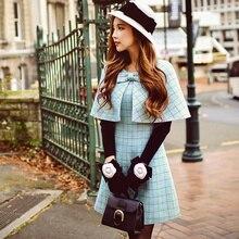 Original 2017 Brand Cloak Dress for Women Autumn Winter Plus Size Runway Elegant Plaid Woolen Cape Party Dresses Women