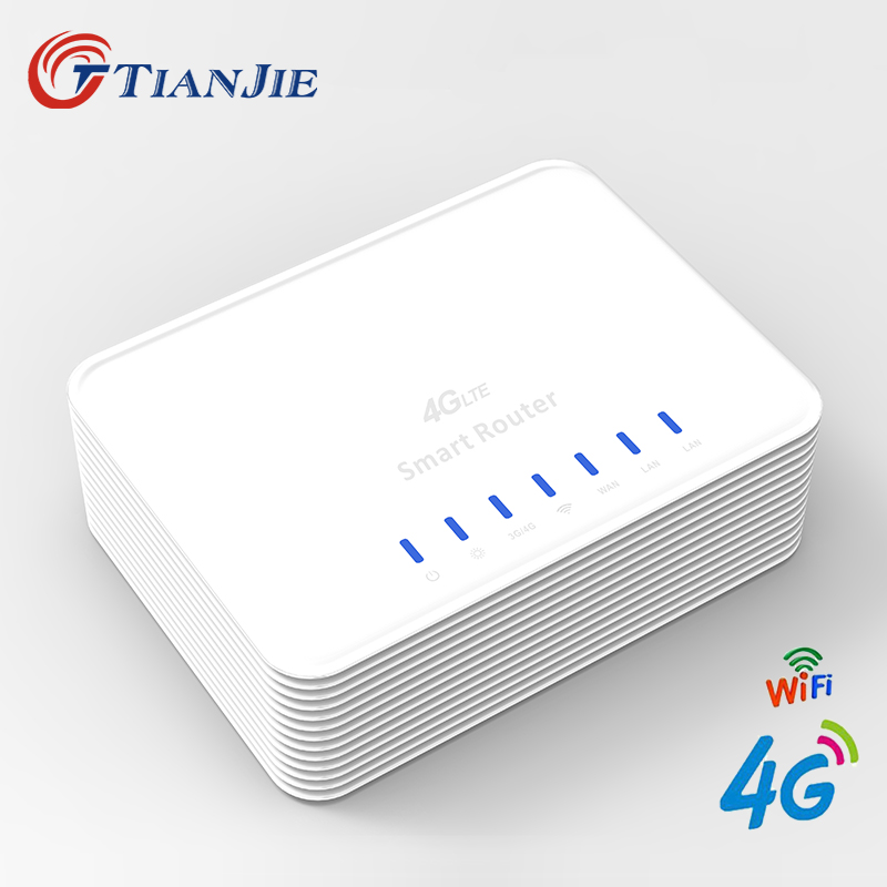 TIANJIE R104 Smart 3G 4G WIFI Router Home 4G 3 x RJ45 Port WIFI Router CPE with sim card slot мтс smart sprint 4g sim lock white