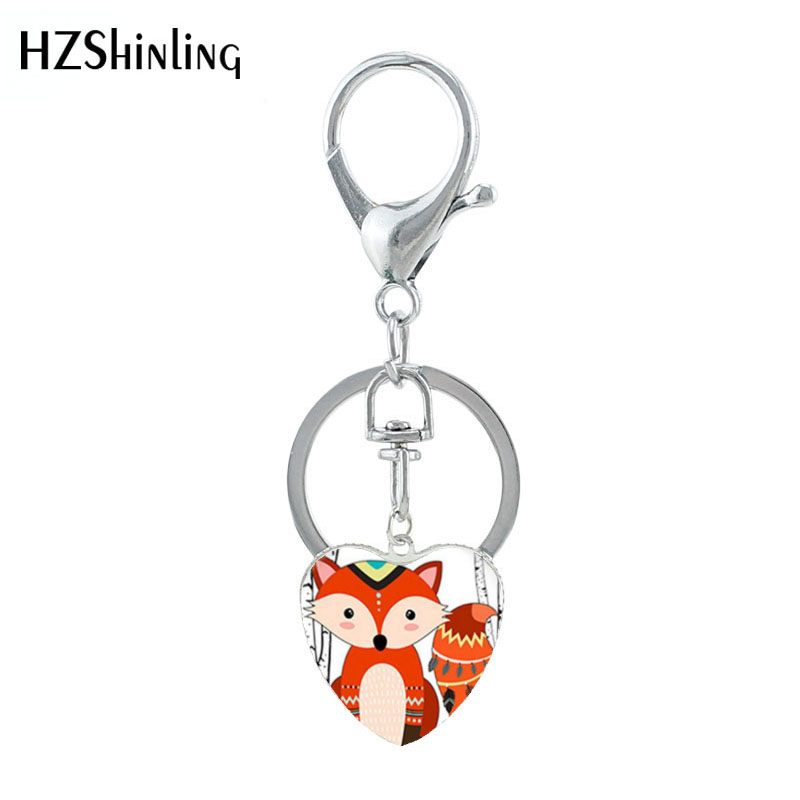 HZSHINLING New Cute Cartoon Glasses Sleep Fox Key Chain Jewelry Glass Dome Pendants Women Children Gifts Fashion Jewelry