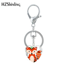 HZSHINLING New Cute Cartoon Glasses Sleep Fox Key Chain Jewe