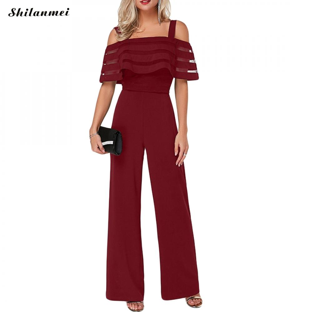 2019 New Summer Jumpsuit Hot Fashion Ladies Women Casual Off Shoulder Sleeveless Clubwear Female Casual Oversize 4xl 5xl Outfit