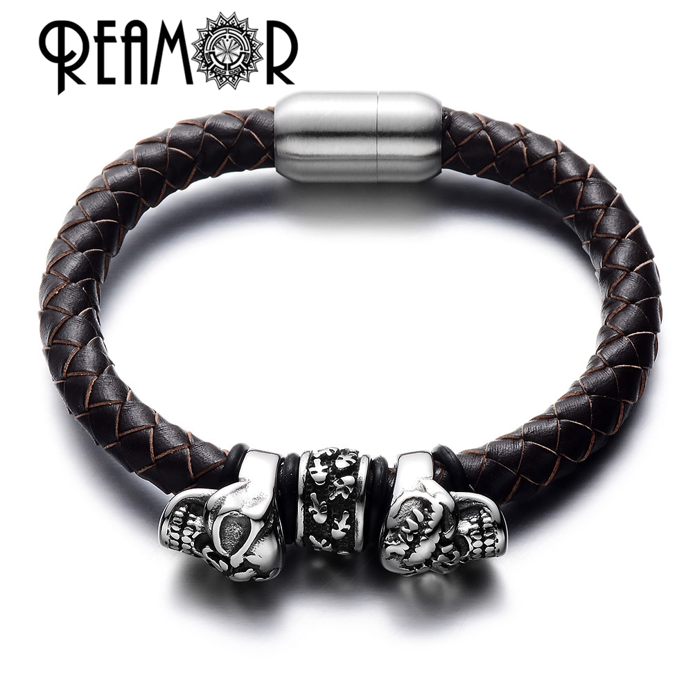 REAMOR 2017 Punk Style 316L Stainless Steel Pirate Skull Head Beads Braided Black Leather Bracelets Luxury with Magnetic Buckle