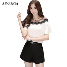88b4045864 New 2018 Summer Women's Sets 2 Pieces Female Lace Mesh Short Sleeve Tops  Black Shorts Office Lady Elegant White Top S-2XL