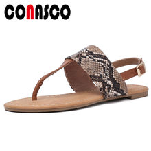 CONASCO Comfortable Breathable Classic Rome Casual Shoes Woman 2019 New Summer Round Toe Women Sandals Flats Single Office Shoes(China)