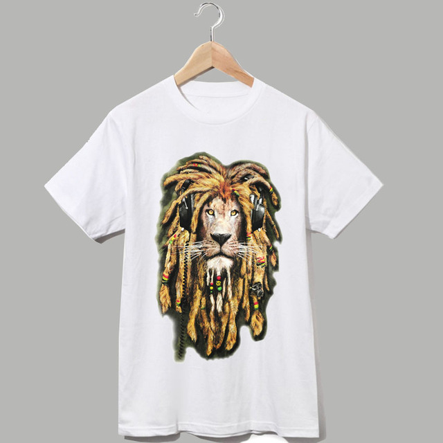 hand painted style reggae music lion bob marley jamaica fashion rasta full  moon party t shirt 5a3135e1e
