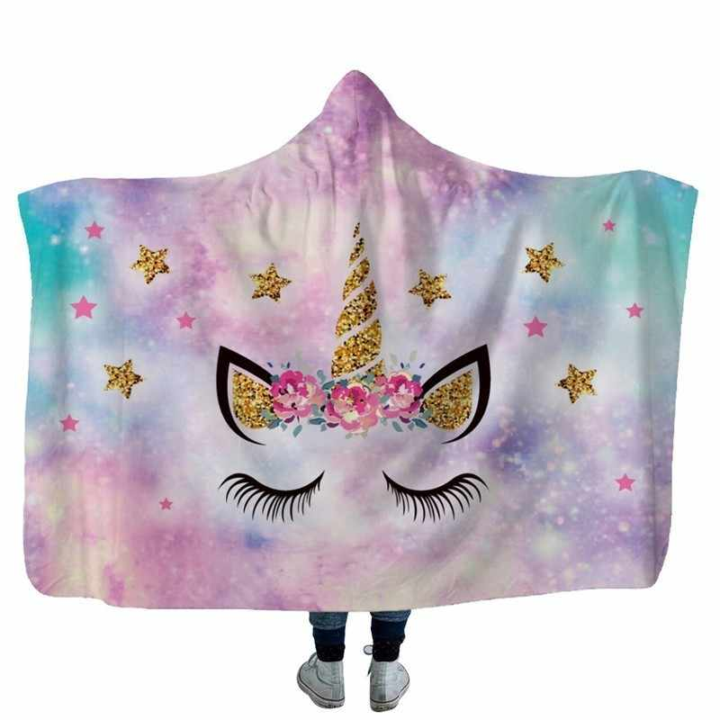 Super Soft Warm Winter Sofa Throw Hooded Blanket Unicorn Printed Plush Fleece Wearable Hoodie Blanket Cushion Cover Free Gift