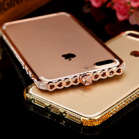 Luxury Bling Diamond Love Heart Rhinestones Metal Frame Bumper For IPhone 6 6S 6Plus 7 7