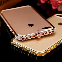 Luxury Bling Diamond Love Heart Rhinestones Metal Frame Bumper For IPhone X 6 6S 6Plus 7 7Plus Capa Fundas Coque
