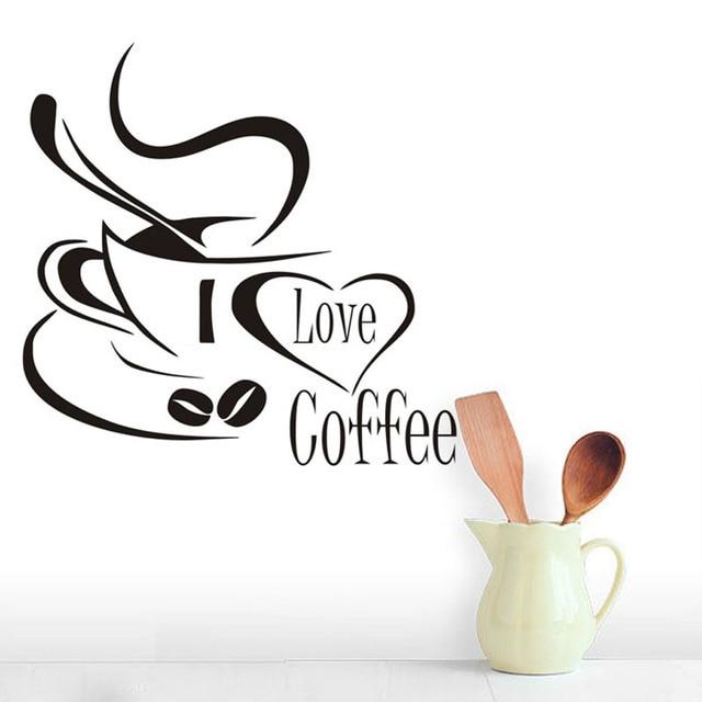 Kocham kawy puchar ściany naklejki ozdobne do kuchni restauracja kawiarnia wymienny tapety Mural artystyczny naklejki ścienne winylowe wystrój domu