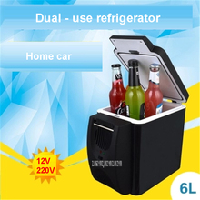 6L Mini Car Fridge Warming Device 2 in 1 Multi-function 12 V Travel Fridge Freezer Refrigerator dual-use hot and cold box 28-48W