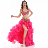Newest Professional Orient Dancewear Belly Dance Outfit Set Beaded Bra B/C Cup Wave Skirt Egypt Women Belly Dance Costumes