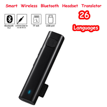 Smart Voice Translation Stereo Headset Wireless Bluetooth Mini Translator 26 Languages Real Time Translation Support TF card Usb columbus v 990 gps data logger 66 channels 50 million waypoints voice tag 4g tf card support voice poi mtk chipset
