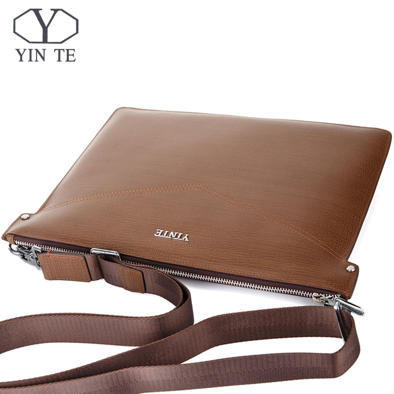 YINTE Fashion Man Messenger Bags Leather Male Cross Body Bag Offical Men Commercial Briefcase Clutch Bag T8599-4