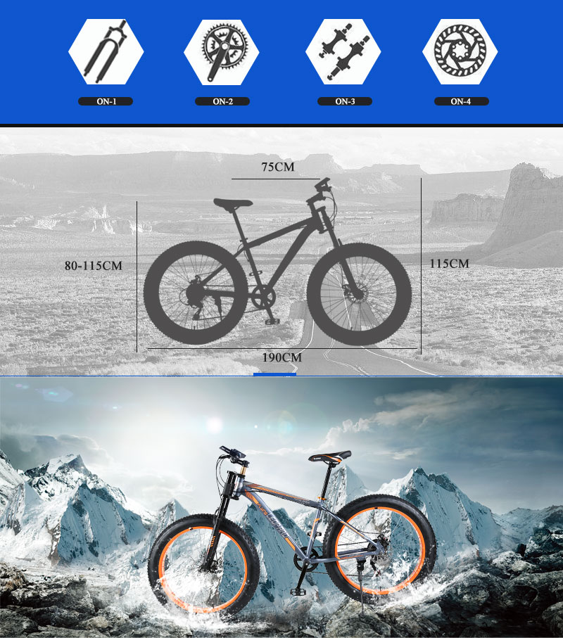 "HTB1nmieXzzuK1RjSspeq6ziHVXa1 wolf's fang Mountain bike Aluminum Bicycles 26 inches 21/24 speed 26x4.0"" Double disc brakes Fat bike road bike bicycle"