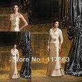 Digna Champagne frente flor com Lace Jacket longo Elastic Satin mãe da noiva / noivo vestido frete grátis MQ050