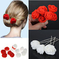 Hot Sale !! 6Pcs/Lot Women Beauty Small Rose Flower Hair Pins Wedding Bridal Accessory Bridesmaids Hair Piece Free Shipping