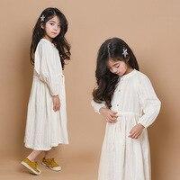 Autumn Baby Girls Dress 2019 Cotton Linen Kids Teens Long Dress Vintage Full Sleeve Casual Dresses Children Clothing 3 14 Years