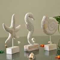 نجم نمط الخشب المتوسط محارة الحصين التماثيل الإبداعية الحيوان الحلي والحرف ديكور المنزل بحري
