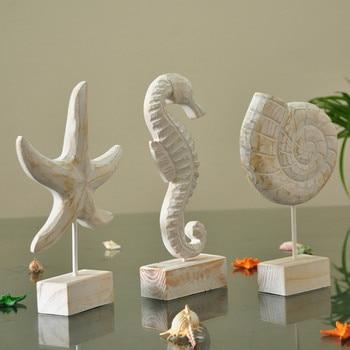 Mediterranean Style Wood Starfish Conch Hippocampus Figurines Creative Animal Ornaments Home Nautical Decor Crafts