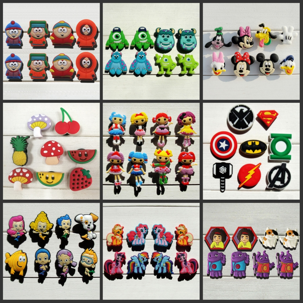Купить со скидкой Mix Models,6-8pcs High Quality Cool Lovely Cartoon PVC shoe charms /shoe accessories for Wristbands,