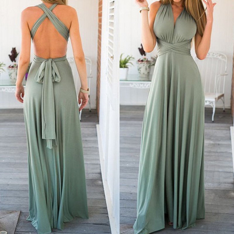 Sexy Long Dress Bridesmaid Formal Multi Way Wrap Convertible Infinity Maxi Dress Navy Blue Hollow Out Party Bandage Vestidos 4