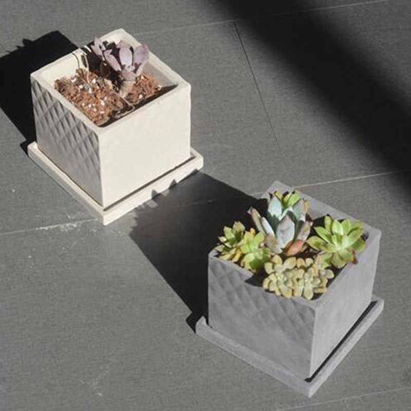 Vuông xi măng lọ hoa silicone khuôn Bắc Âu đơn giản hóa công nghiệp gió mô hình hình học bê tông lọ hoa khay khuôn