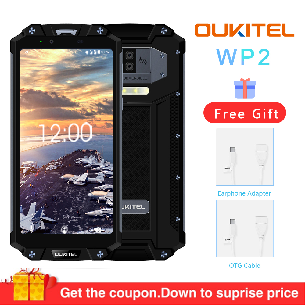 OUKITEL WP2 IP68 étanche à la poussière anti-choc téléphone portable 4G RAM 64G ROM Octa Core 6.0